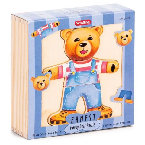 Ernest Moody Bear Puzzle - Schylling Mix & Match Wooden Puzzles Toy (Age 2 +)